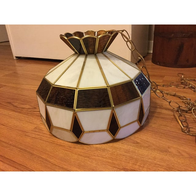 Vintage Tiffany Style Hanging Lamp - Image 2 of 8