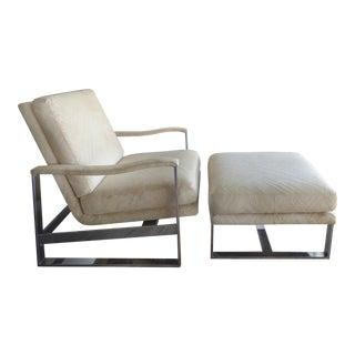 Mid-Century Modern Milo Baughman for Thayer Coggin Chair & Ottoman For Sale