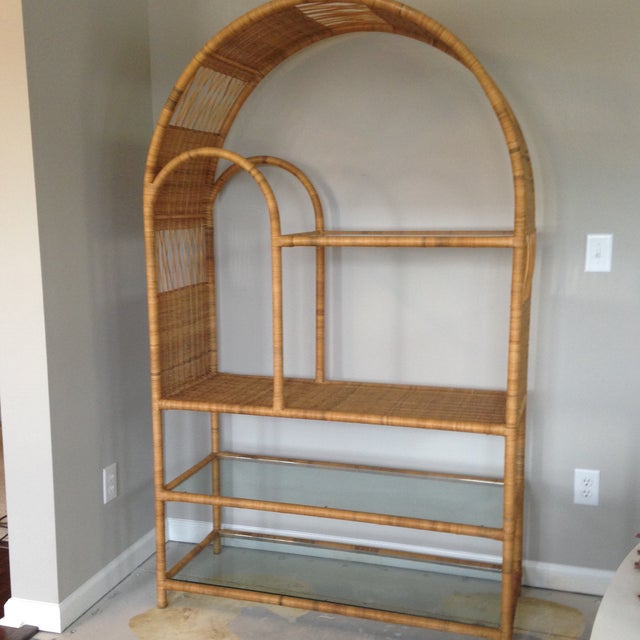 Mid-Century Rattan & Glass Etagere / Bookcase - Image 7 of 8
