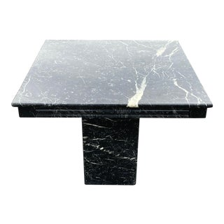 1970s Italian Black Marble End/Side Pedestal Table For Sale
