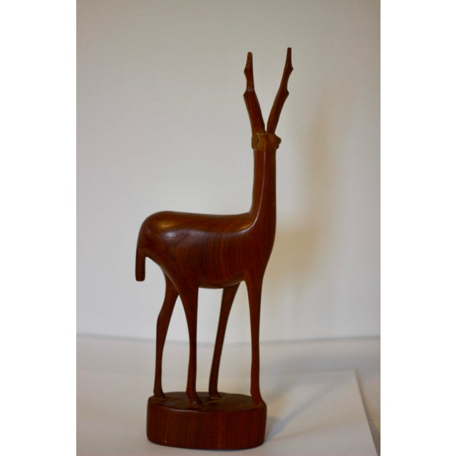 Mid-Century Modern Mid Century Modern Teak Carved Gazelle Statue For Sale - Image 3 of 6