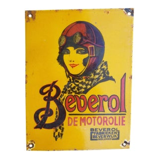 1920s French Art Deco Enamel Oil Sign For Sale