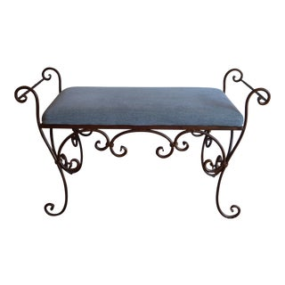 Upholstered Scrolled Iron Bench