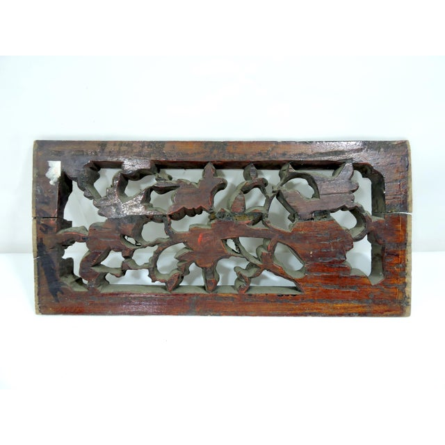 """Early 20th Century Antique Chinese Gold """"Cherry Blossom"""" Wood Panel Fragment, Wall Hanging For Sale - Image 5 of 5"""