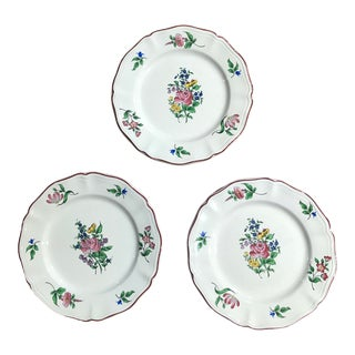 Early 21st Century French Luneville Old Strasbourg Floral Salad Plates- Set of 3 For Sale