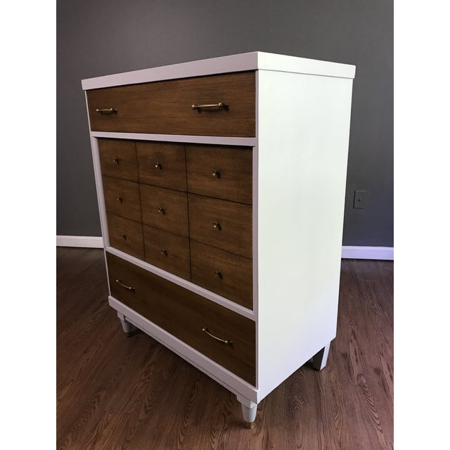 Two-Tone Mid-Century Modern Highboy Dresser For Sale - Image 5 of 11