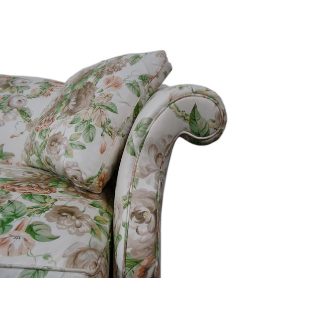 Hickory Chair Co. Floral Camel Back Bamboo Sofa - Image 3 of 11