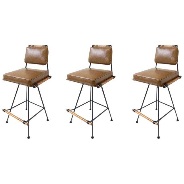 Set of Three Swivel Barstools For Sale