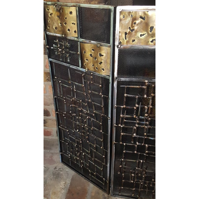 Brutalist Welded Sculptural Fireplace Screen - Image 5 of 9