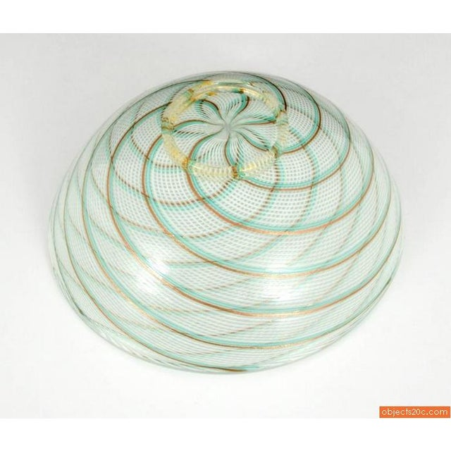 Aureliano Toso Monumental Dino Martens Reticello Footed Center Bowl For Sale - Image 4 of 5