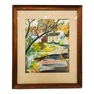 Vintage Watercolor Painting in Frame For Sale