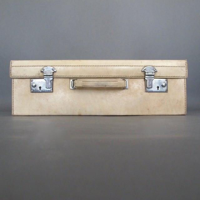 Antique 1920 Cream Vellum Suitcase For Sale In Richmond - Image 6 of 11