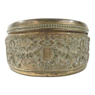 1900 Antique Continental Gilt Metal Oval Jewelry Box With Pastoral Landscape For Sale