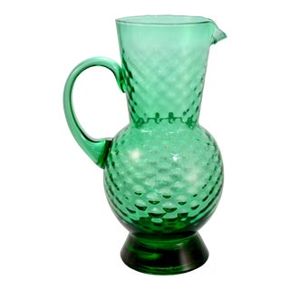 Italian Blown Optic Glass Emerald Green Pitcher For Sale