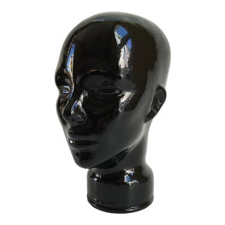 Vintage 1970s Black Glass Head Sculpture