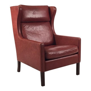 1960s Danish Modern Mogensen Highback Brick Red Leather Lounger Preview