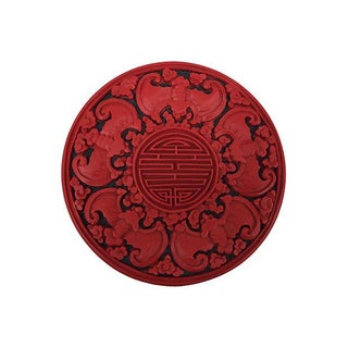Chinese Red & Black Lacquer Carved Bats Box For Sale