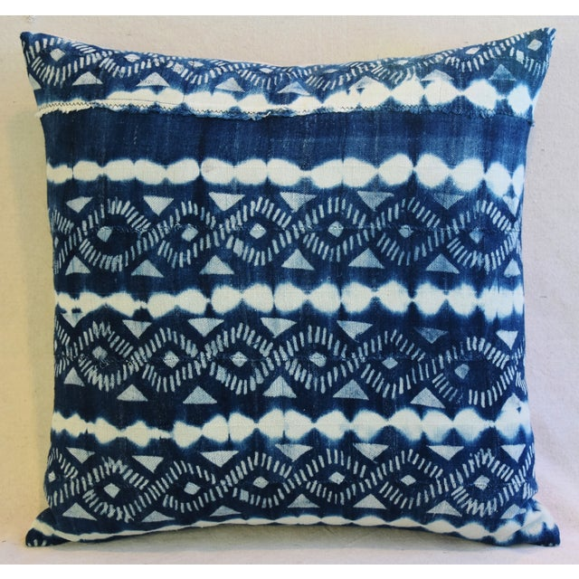 Indigo Blue & White Mali Tribal Feather/Down Pillow - Image 3 of 8