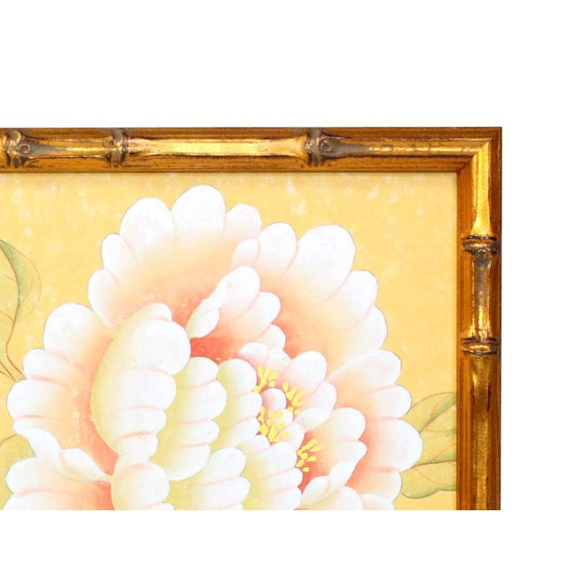 "Chinoiserie 1970's Chinoiserie Painting ""Pheasant on Fence"" Framed in Gold-Leafed Faux Bamboo For Sale - Image 3 of 6"