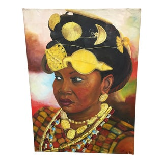 Large Peter Keil Painting of an African Woman For Sale