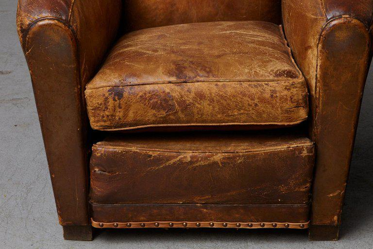 French Pair Of Large Distressed French Leather Fauteuils / Club Chairs, Ca  1930s For Sale