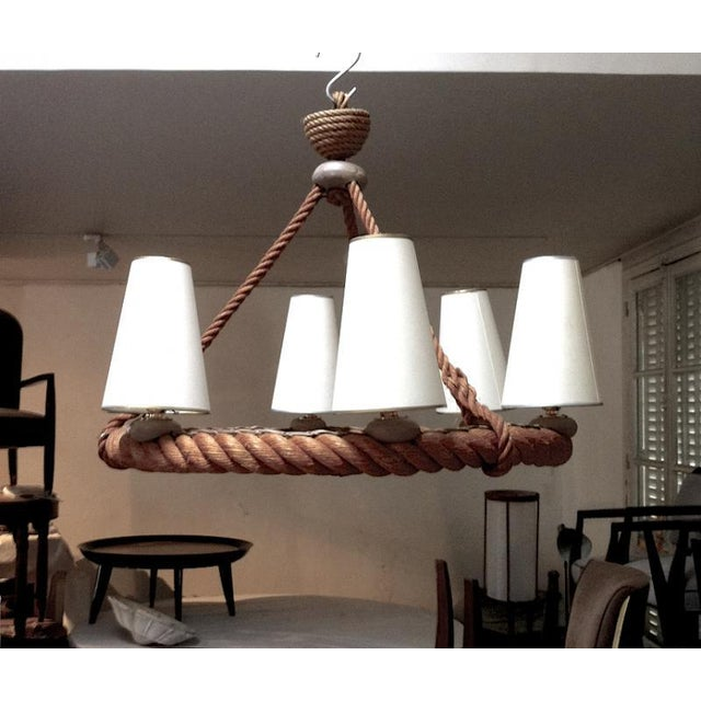 Audoux minet french riviera 6 light rope chandelier in good vintage condition.