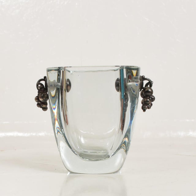 Strombergshyttan Beautiful Strombergshyttan Thick Glass Vase With Silver Grapevine Accents For Sale - Image 4 of 10