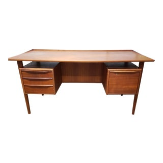 1950s Danish Modern Peter Lovig Nielsen Floating Top Tanker Desk For Sale