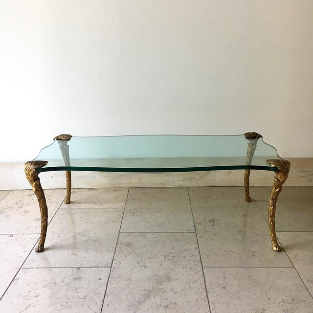 French Gilded Cast Iron Legged Coffee Table attributed to Guerin with Original Shapely Glass Top 1970s Cabriole shaped...