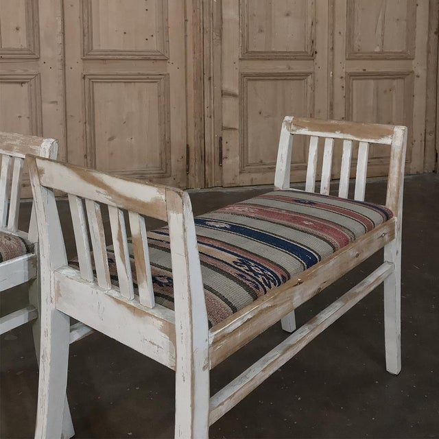 Pair 19th Century Antique Swedish White Painted Stools With Ikot Upholstery For Sale - Image 9 of 11