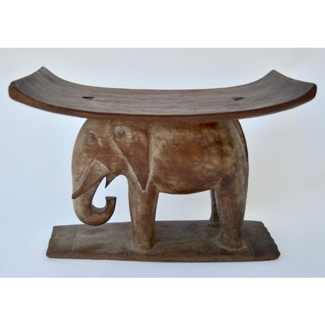 African Ashanti African Wood Elephant Stool For Sale - Image 3 of 6