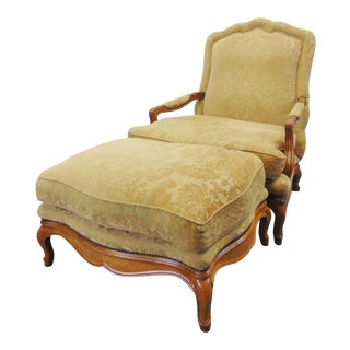 Late 20th Century Baker Country French Lounge Chair & Ottoman-a Pair For Sale