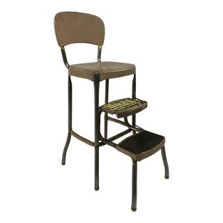 Vintage Industrial Metal Step Stool by Cosco For Sale