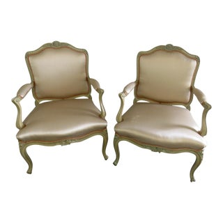 Yale R Burge Louis XVI Style Fauteuil Chairs - A Pair For Sale