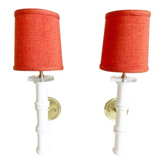 1950s Bamboo Sconces & Shades - a Pair For Sale