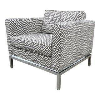 Mid-Century Club Chair in Grey Cut Velvet