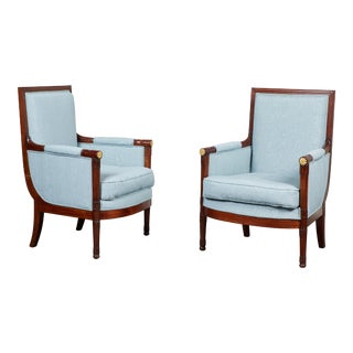 Pair of Empire Mahogany Bergeres Chairs For Sale