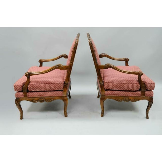 Wood Late 20th Century Country French Louis XV Shell Carved Century Bergere Lounge Arm Chairs- A Pair For Sale - Image 7 of 10