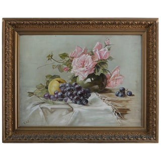 Antique Oil on Canvas Floral Rose & Fruit Still Life Painting Signed, Circa 1890 For Sale