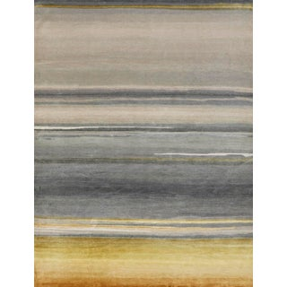 Schumacher Patterson Flynn Martin Resonance Hand Knotted Wool Silk Striped Rug For Sale