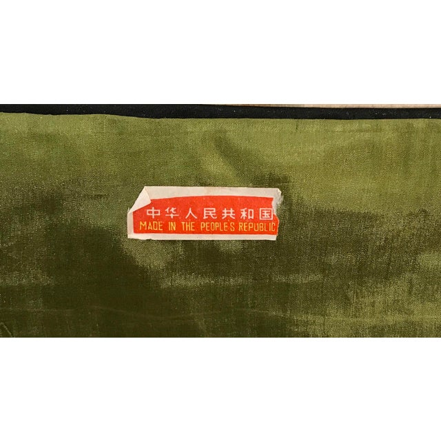 Green Vintage Chinese Embroidered Wall Hanging For Sale - Image 8 of 8