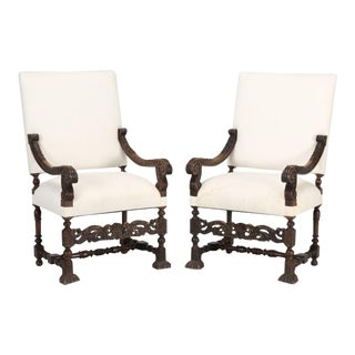 French Hand-Carved Walnut Throne Chairs - a Pair For Sale