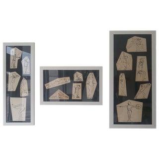 Ink Sketches of Dancers in Position - Set of 3 Framed Groups For Sale