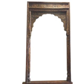 Antique Arch Columns Haveli Entrance Gate Huge Archway Hand Carved Sun Medallion For Sale