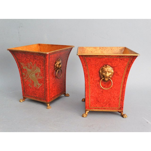 Asian Pair Vintage Italian Chinoiserie Tole Urns, Cachepots For Sale - Image 3 of 8