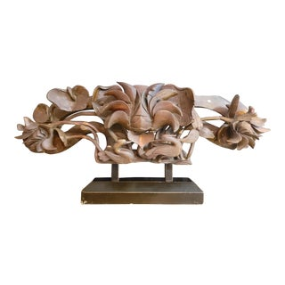 20th Century Chinese Temple Flower Carving on Stand For Sale