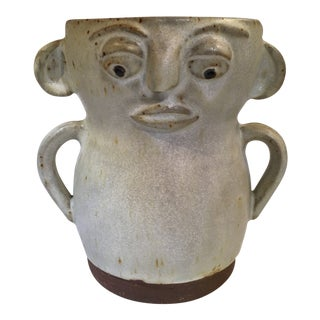 Figurative Face Pottery Vase For Sale