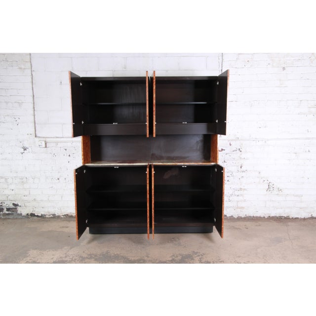 Leon Rosen for Pace Collection Burl Wood Lighted Bar Cabinet or Wall Unit For Sale - Image 9 of 13