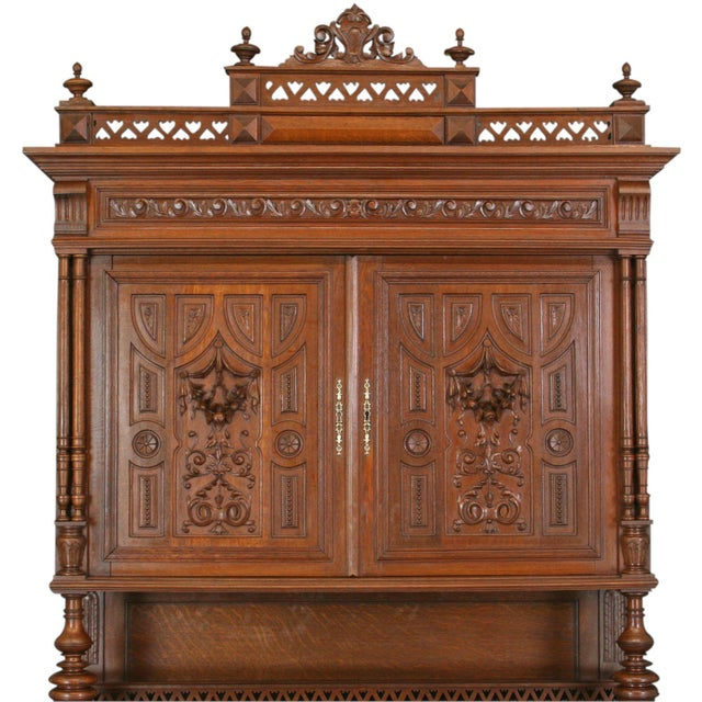 Antique Carved Oak French Henry II Hutch - Image 4 of 8