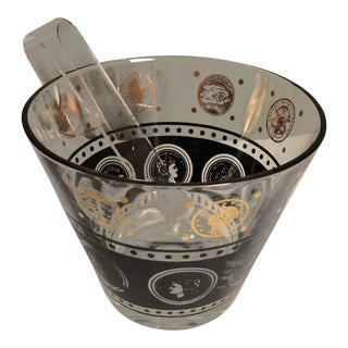 Mid Century Hollywood Regency Glass Ice Bucket For Sale